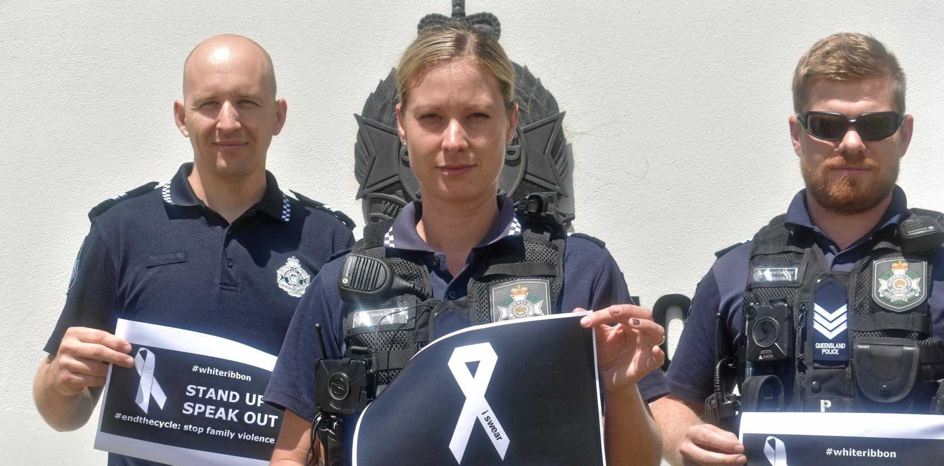 CALL TO ACTION: Officers Cameron Simmons, Lea Weibel and Jarryd Davies   urge   residents to do their bit to end violence against women.