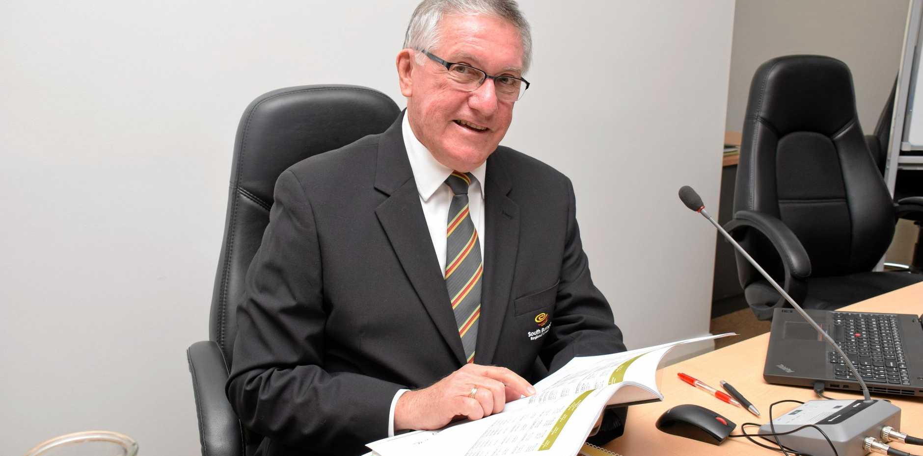 Mayor Keith Campbell in his office at the South Burnett Regional Council