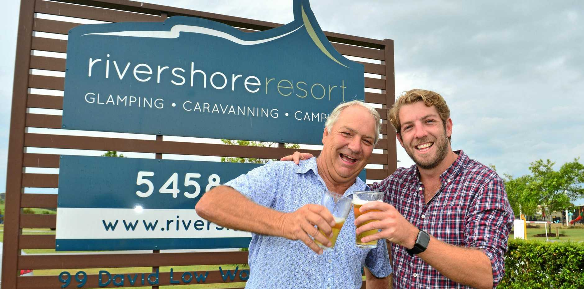 CHEERING: Bernie McGovern and his son Will have sold Rivershore Resort, in Diddillibah in a very big business deal.