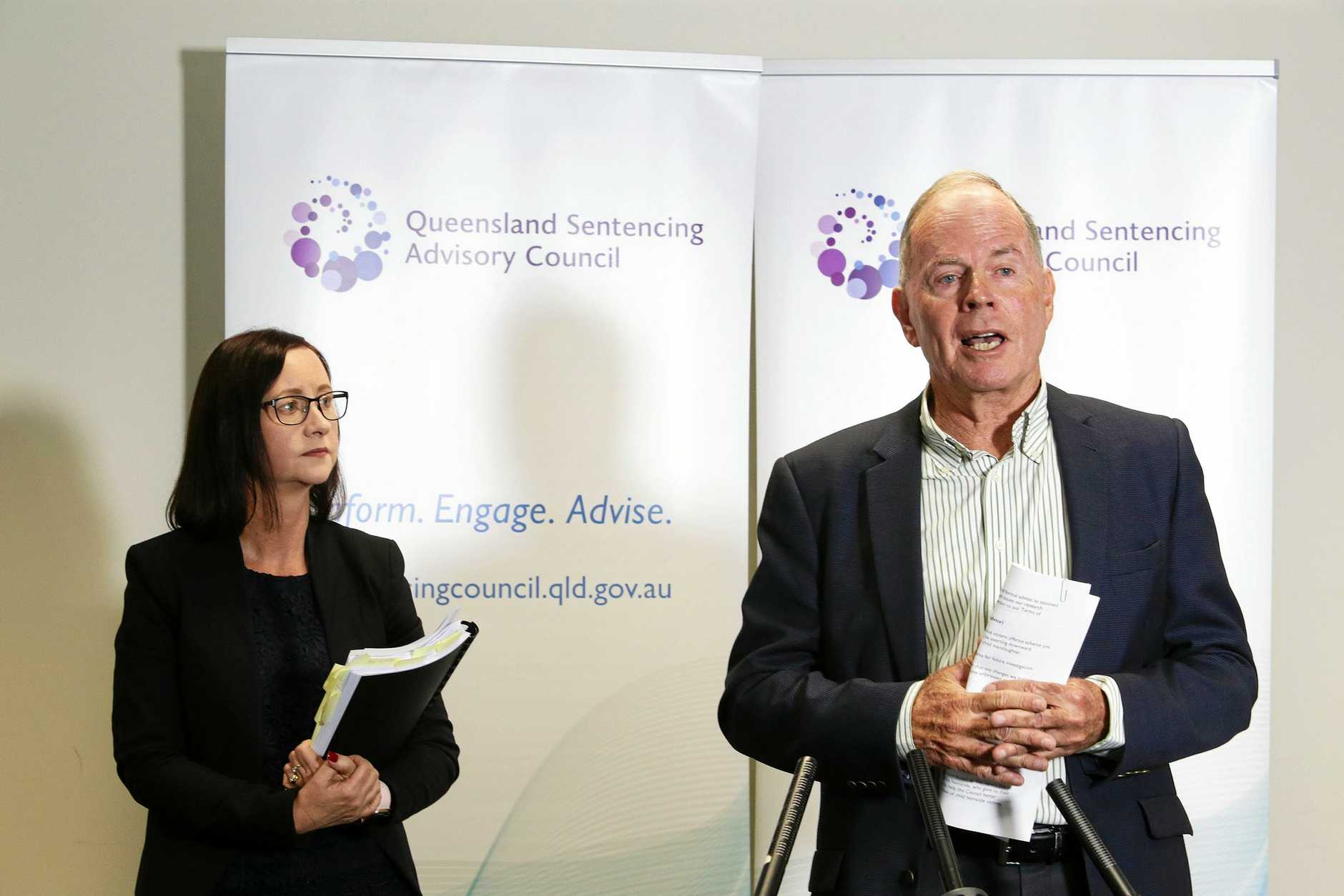 Queensland Sentencing Advisory Council chairman John Robertson addresses media at QSAC in Brisbane CBD on Wednesday, November 21, 2018. The Attorney General addressed the sentencing for criminal offences arising from the death of a child. (AAP Image/Claudia Baxter)