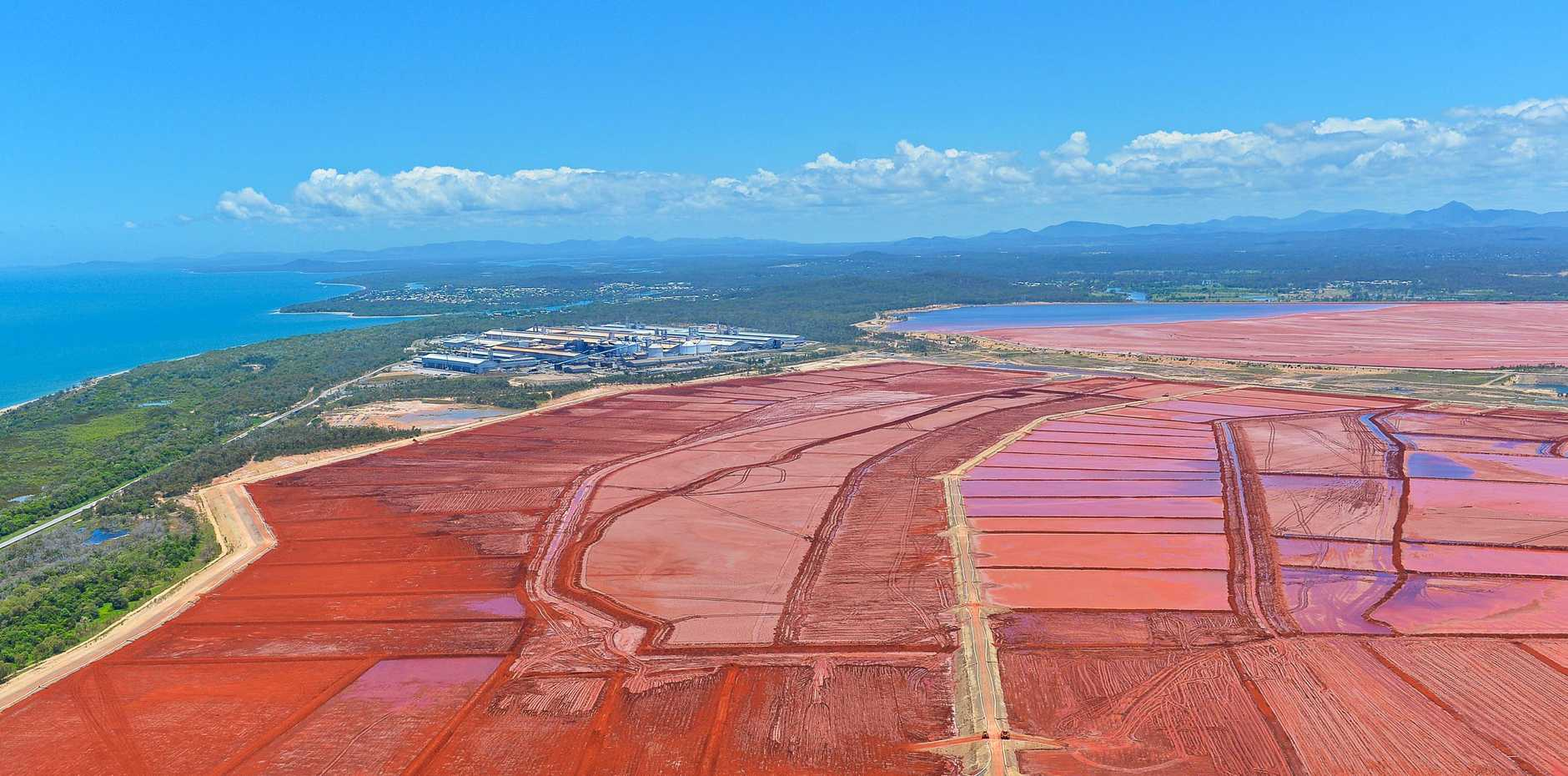 RED MUD: QAL's red mud has been stored at the 1,000 hectare Residue Disposal Area at Boyne Island since operations began in 1967.