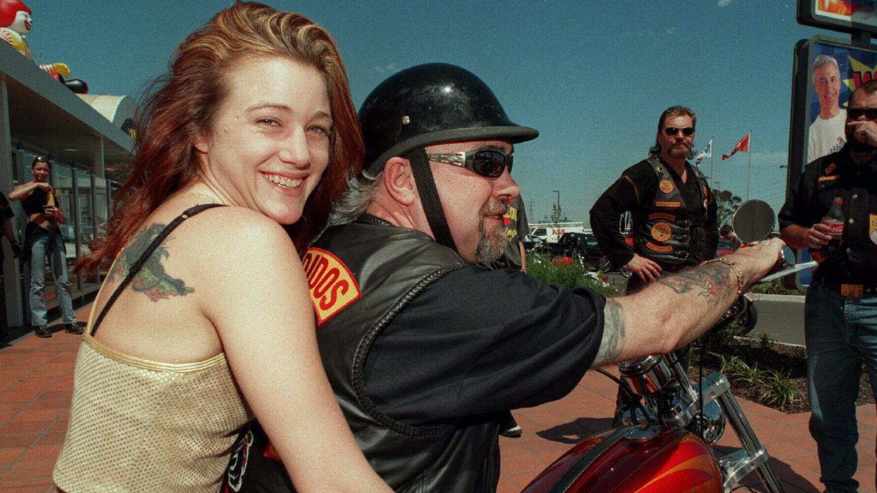 Bandidos Michael Kulakowski aka Mick K with his girlfriend at the time Angela in 1997. Picture: Craig Borrow