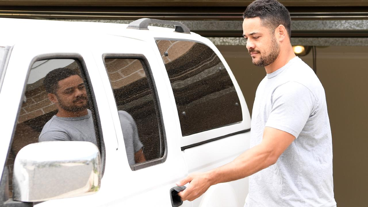 Jarryd Hayne leaves to report to police. Picture: Tracey Nearmy