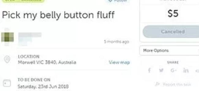 On user asked for someone to pick belly button fluff for $5.