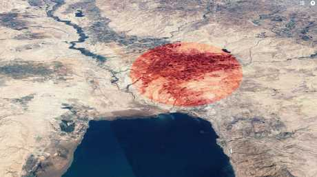 Middle Ghor, the flat plain to the north-east of the Dead Sea where biblical archaeologists say a fireball and tsunami from an airburst meteor destroyed the ancient city of Sodom.