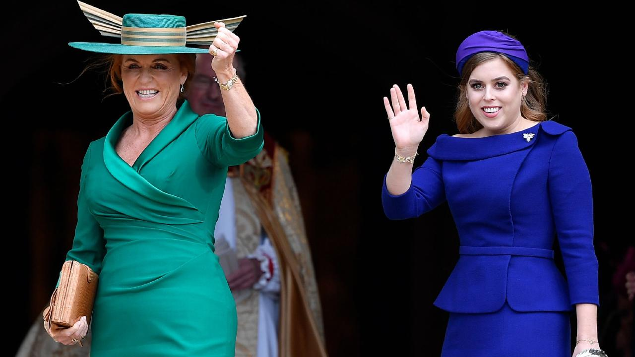 Sarah, Duchess of York and Princess Beatrice of York attend the wedding of Britain's Princess Eugenie of York to Jack Brooksbank. Picture: Toby Melville