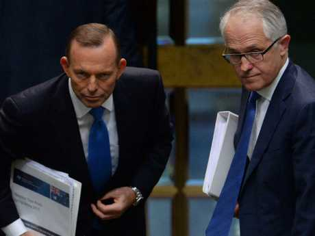 Former Australian prime ministers Tony Abbott (left) and Malcolm Turnbull. Picture: AAP