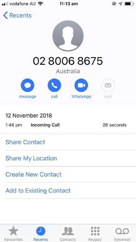 A screenshot of a scam call number that targeted Dani Pogson. Picture: Supplied
