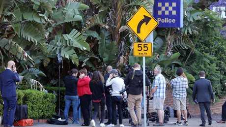 Police after charging Jarryd Hayne at Ryde Police Station. Picture: Matrix
