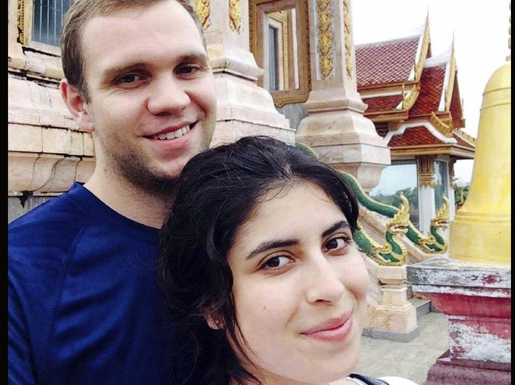 Matthew Hedges with his wife Daniela Tejada. Picture: AP