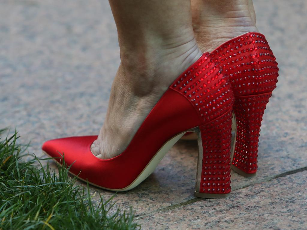 The red shoes Julie Bishop wore the day she resigned as foreign minister. Picture: Kym Smith