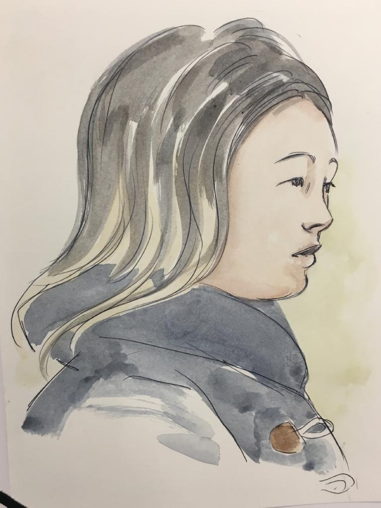 A court sketch: of Annabelle Chen's daughter Tiffany Yiting Wan.