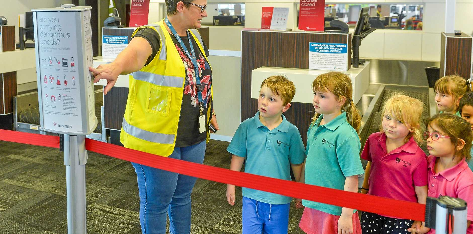 EDUCATION ADVENTURE: Gladstone Airport's Sue-Ellen Howie gave Trinity College Kindergarten students a tour of Gladstone Airport.