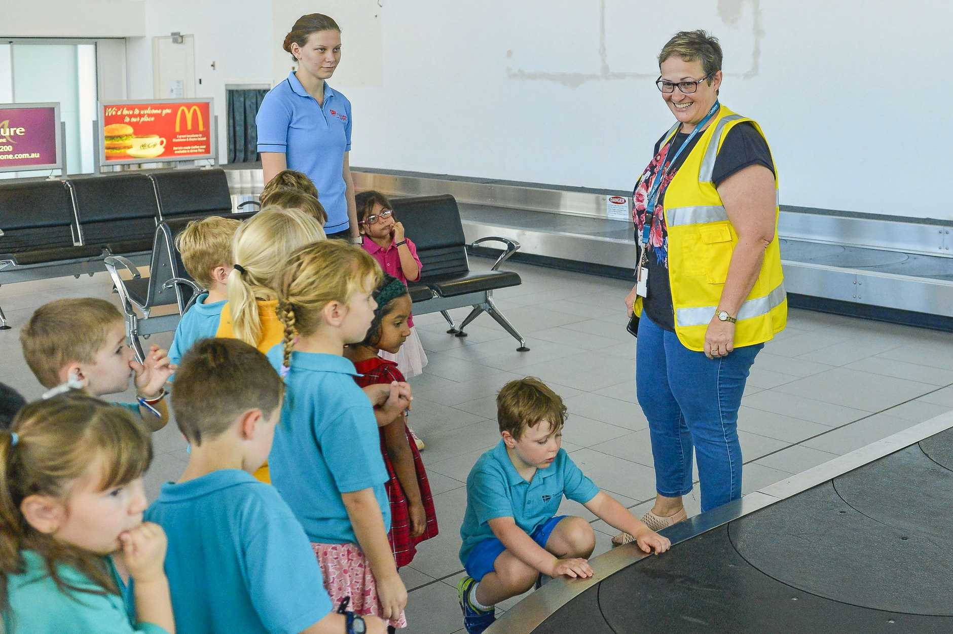 Gladstone Airport's Sue-Ellen Howie gave Trinity College Kindergarten students a tour of Gladstone Airport.