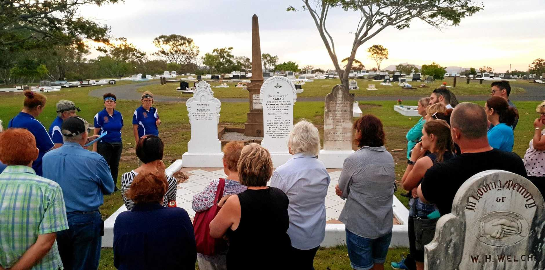 WALK THROUGH TIME: The Genealogical Society conduct sunset cemetery tours throughout the year to share the history of Gladstone's pioneering families.