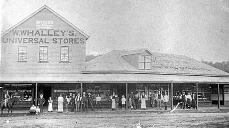 M191273: William Whalley's Universal Stores at corner Currie and Lowe Streets, Nambour, ca 1905.