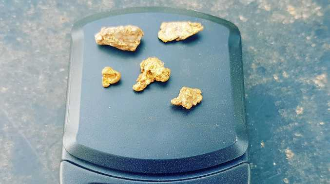 GOLD: Small nuggets of gold found recently near Mt Larcom.