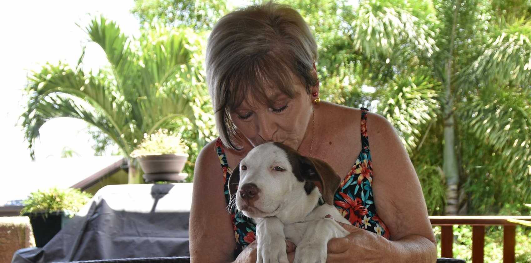 LUCKY PUPPY: Judy Whicker with foster puppy Evie