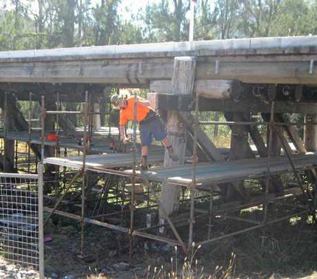 A bridge at Widgee gets repairs.