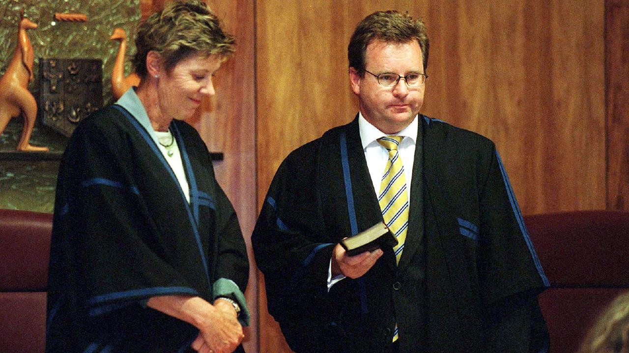 Michael Jarrett is sworn in by Chief Federal Magistrate Diana Bryant in 2004. Picture: Suzanna Clarke