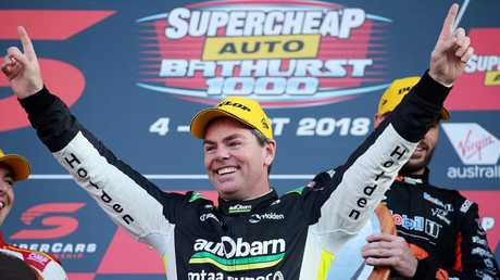 Craig Lowndes celebrates winning the Bathurst 1000 in October. Picture: Tim Hunter