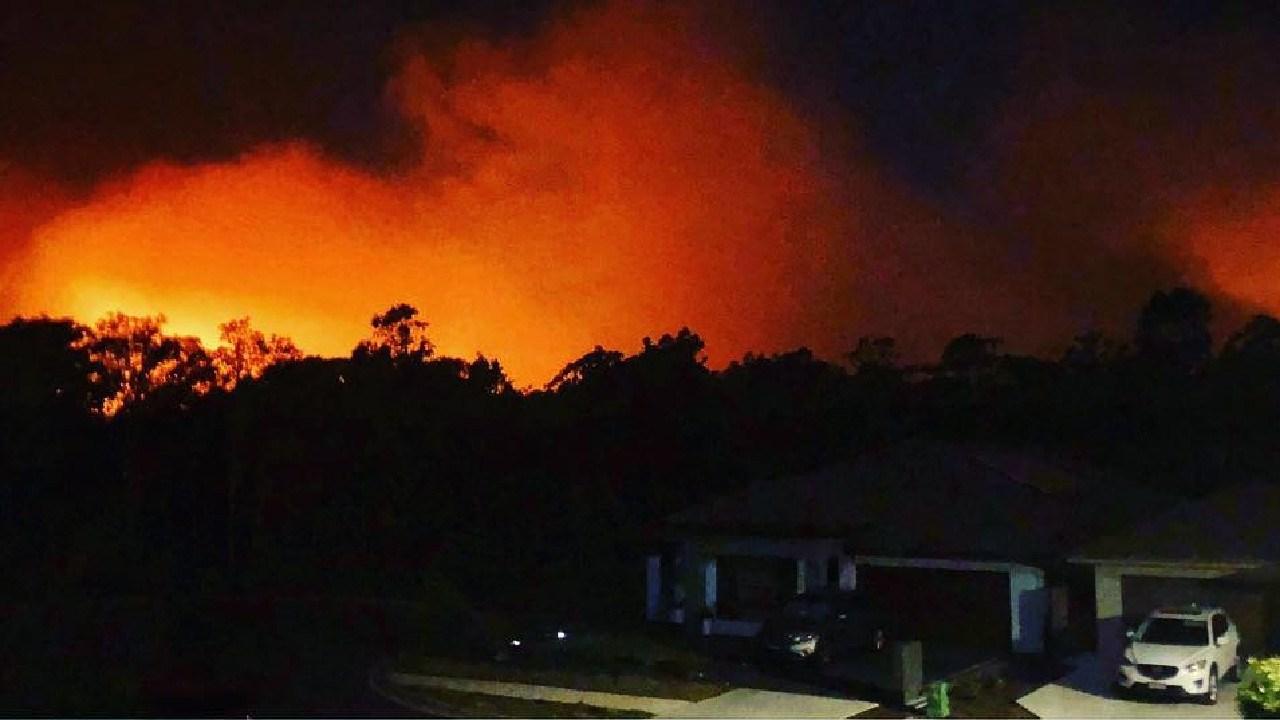 The fire burns through the night at Salt Ash. Picture: Instagram @twayswtseesit