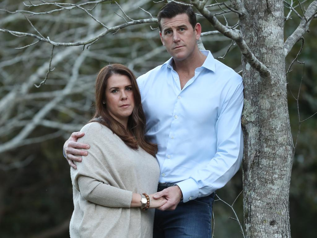 Mr Roberts-Smith with his wife Emma on the Sunshine Coast. Picture: Lyndon Mechielsen/The Australian