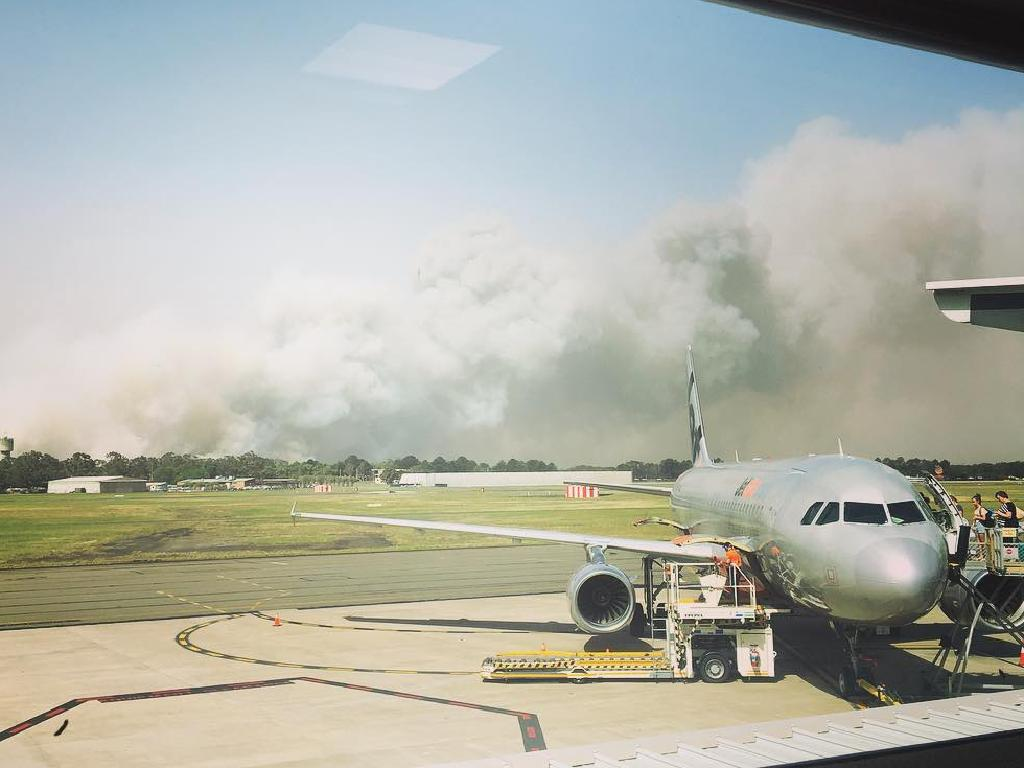 Campvale Bushfire seen from Newcastle Airport. Picture: Instagram