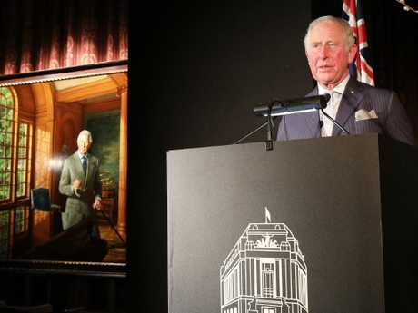 A portrait of the Prince of Wales by Australian-born artist Ralph Heimans was at Australia House in London. Picture: Ella Pellegrini
