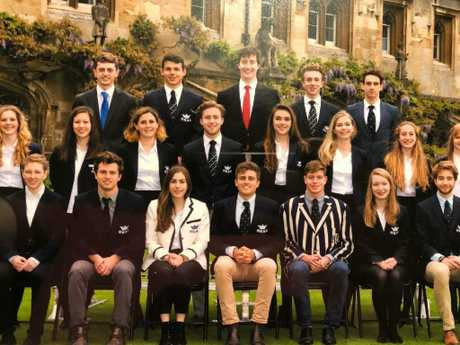 Former Sydney Cranbrook School student James Ross, front row centre, has recently graduated from Oxford in the UK. Picture: Supplied