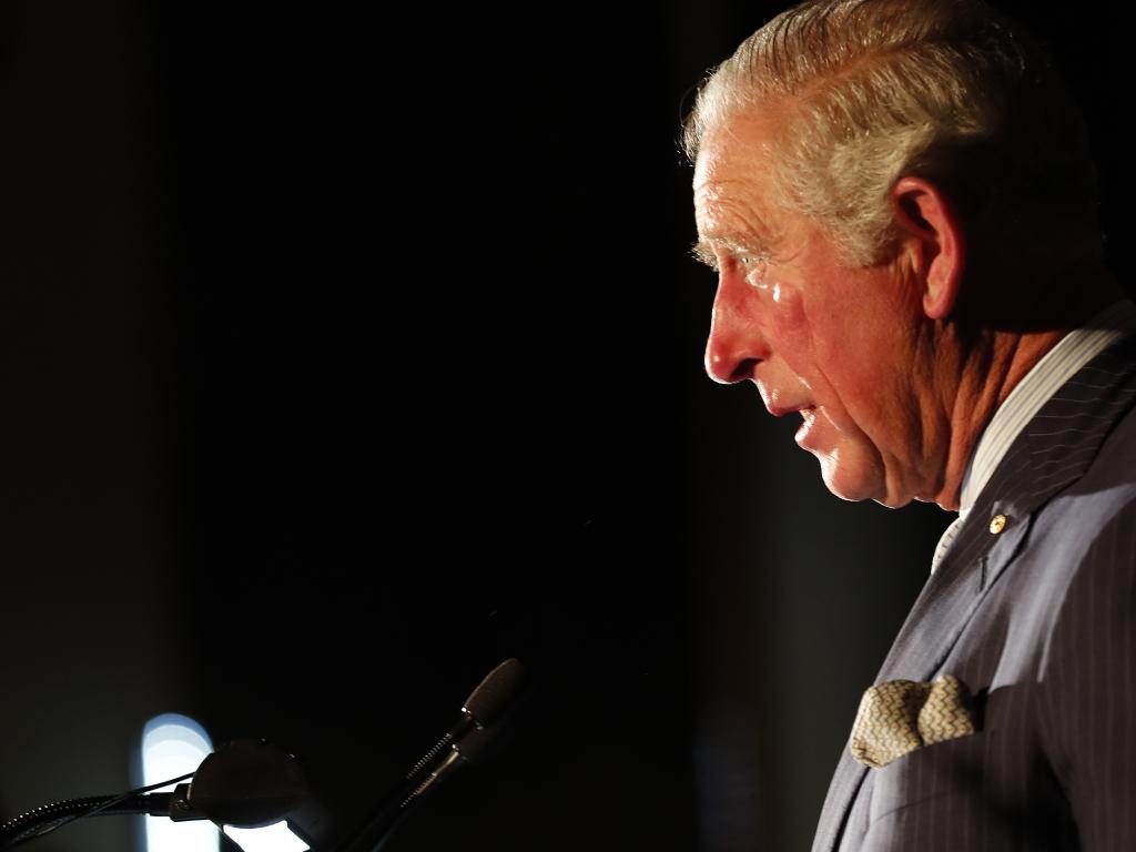 Prince Charles addresses guests as he visits Australia House. Picture: AP