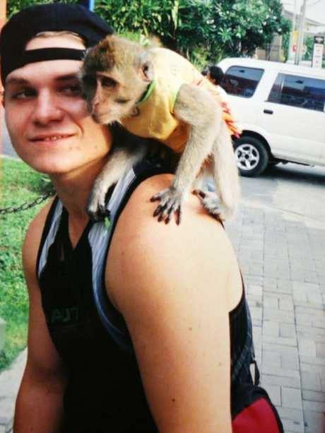 Rush and monkey in a Bali street.