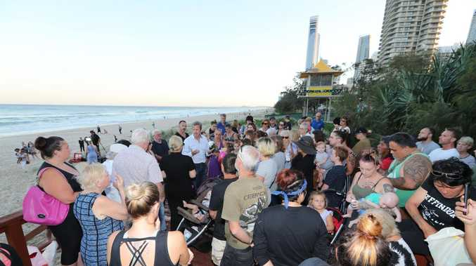 A Candlelight vigil for the baby found dead on Surfers Paradise Beach. Picture Glenn Hampson
