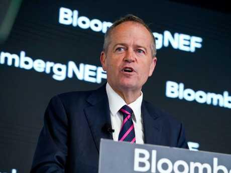 Leader of the Opposition Bill Shorten addresses Bloomberg's New Energy Finance event in Sydney on Thursday. Picture: AAP/Ben Rushton