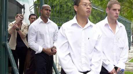 Myuran Sukumaran, Andrew Chan and Norman at Denpasar court in December 2005. Picture: Firdia Lisnawati.