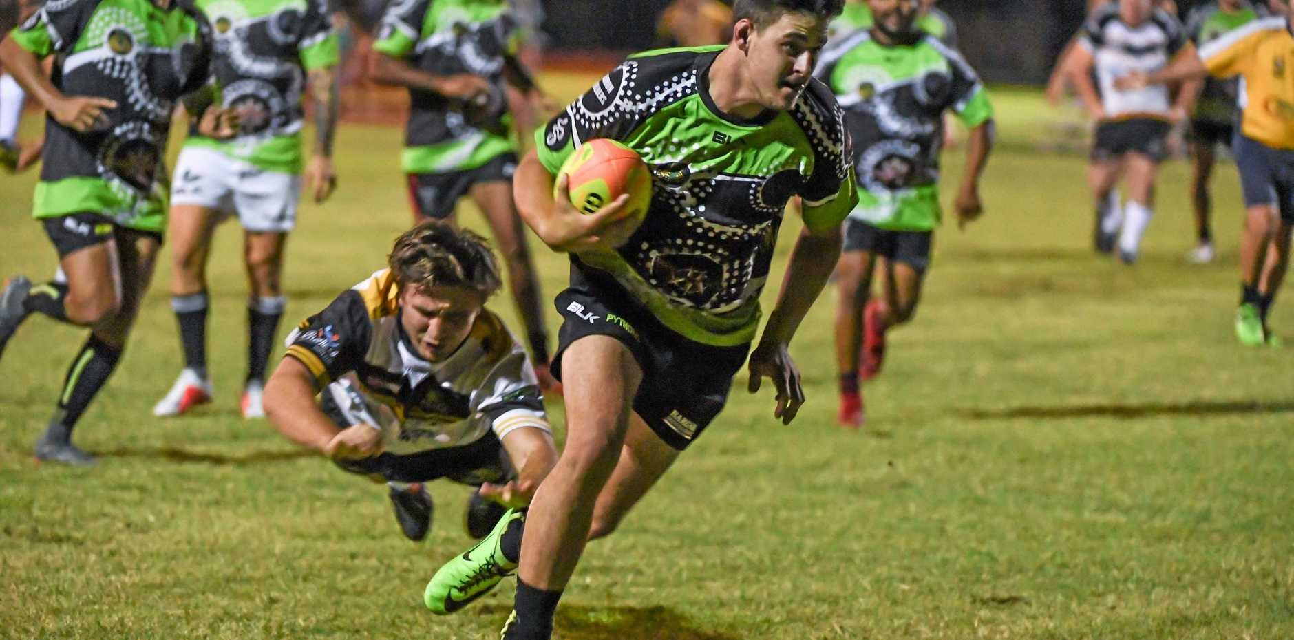 Bundaberg Pythons Trent Seeds on his way to cross the line for a try earlier this season. Today he will play for them in the Spring Cup and play for Past Highs Combined Country in cricket.