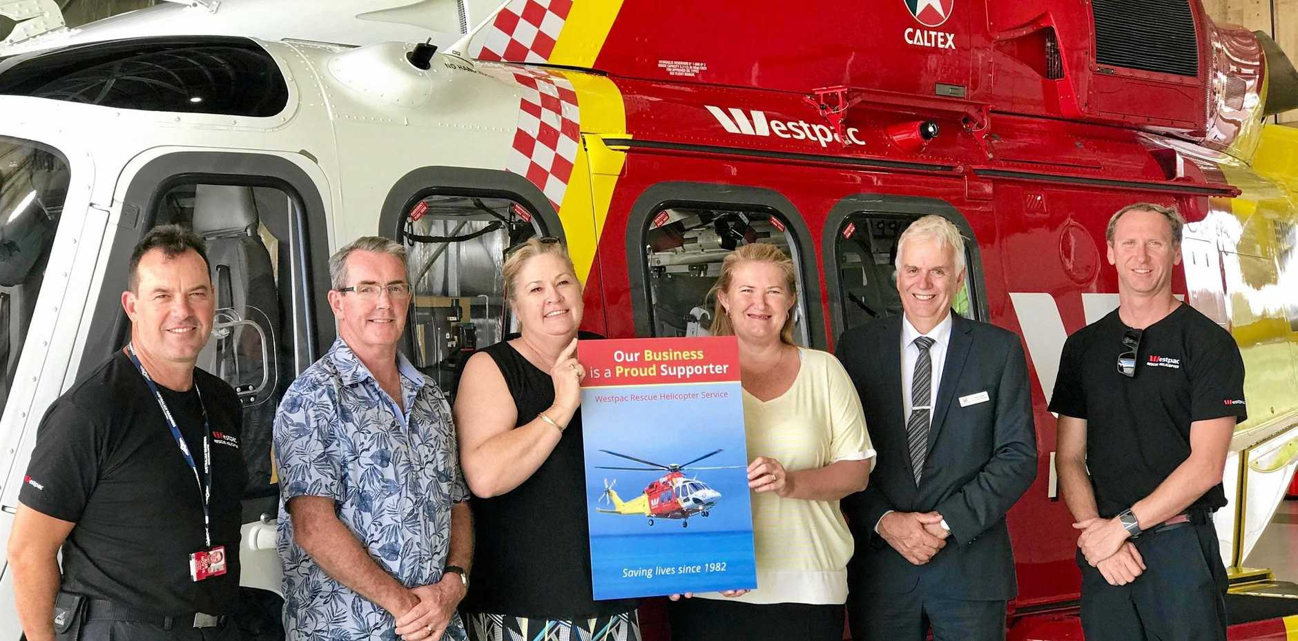 MILESTONE (L-R): Lachlan Hayes (Pilot), Glenn Jeffrey (Careers Advisor, The Rivers Secondary College, Lismore High Campus), Cheryl Graham (College Administration Officer, The Rivers Secondary College), Gaye Titcume, from Alstonville Public School, Greg Smith (Executive Principal, The Rivers Secondary College), Jimmy Keough (Aircrew Officer).