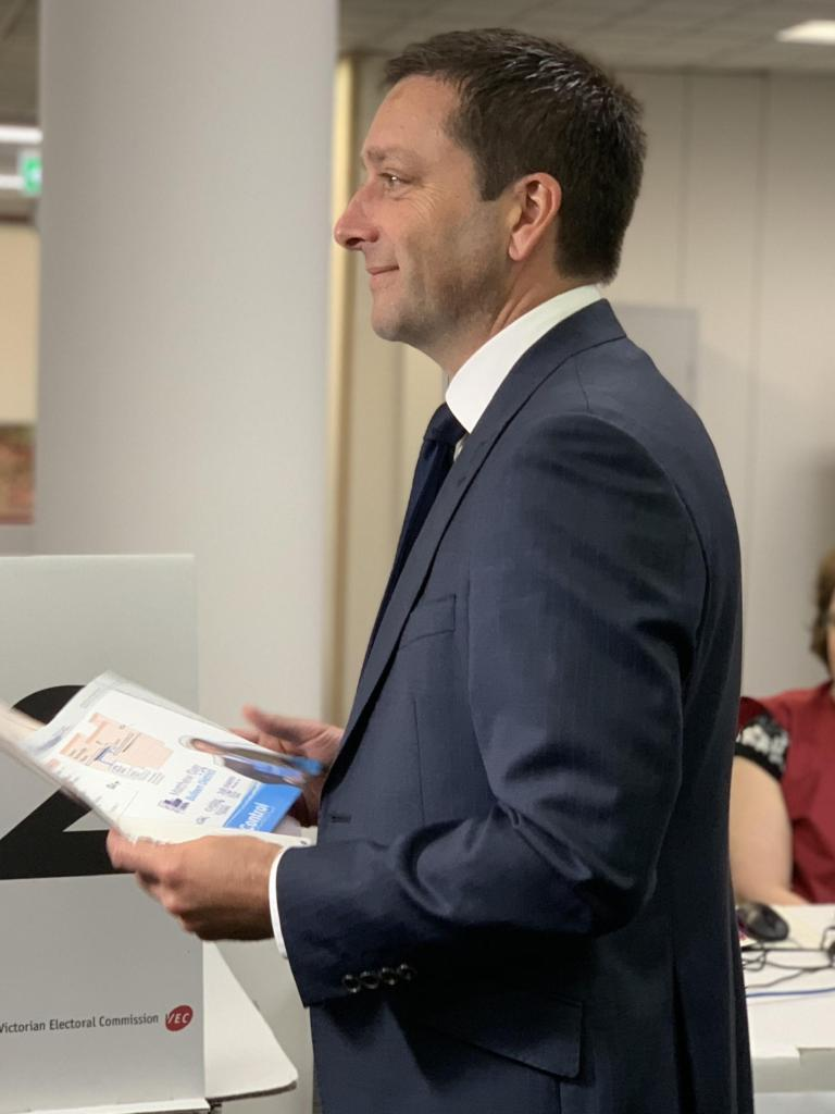 Matthew Guy votes on November 14. Picture: Monique Hore.