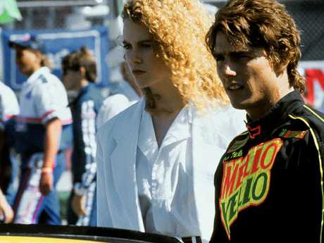 "Nicole Kidman and Cruise, in 1990 on the set of Days of Thunder. Kidman's father was a psychologist and was allegedly identified as a ""Potential Trouble Source""."