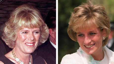 Camilla Parker Bowles (L) & Diana, Princess of Wales.