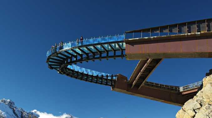 The glass-floored observation platform at Jasper, Canada hovers 918 ft. above Sunwapta Valley. This walkway will be engineered similarly.
