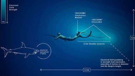 How the Ocean Guardian Freedom7 electronic shark deterrent device works. Photo: Supplied