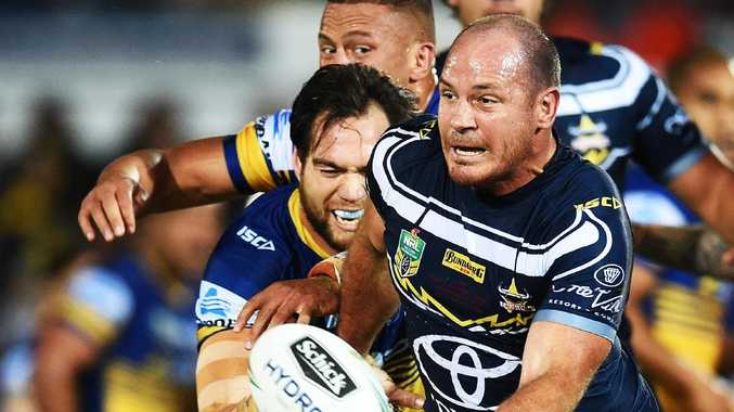 North Queensland Cowboys v Parramatta Eels from 1300 Smiles Stadium, Townsville. Cowboys Matt Scott is tackled. Picture: Zak Simmonds