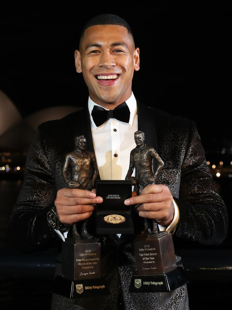 Jamayne Isaako won three awards at the 2018 Dally M Awards. Picture: Brett Costello