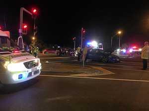 Traffic crash blocks key North Rocky intersection