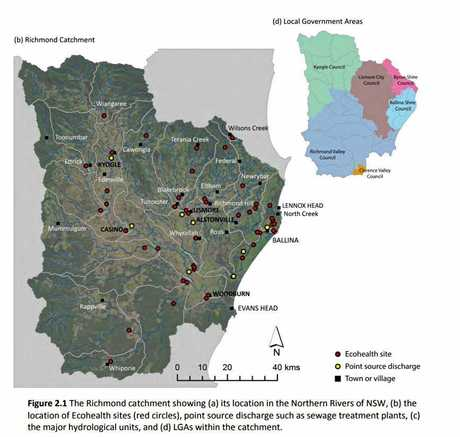 A map of the catchment in the Richmond River 2014 Ecohealth report.