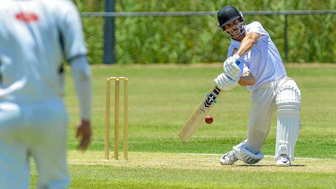 Jason Seng edges the ball in the A-Grade match between The Glen Cricket Club and Rockhampton Brothers.
