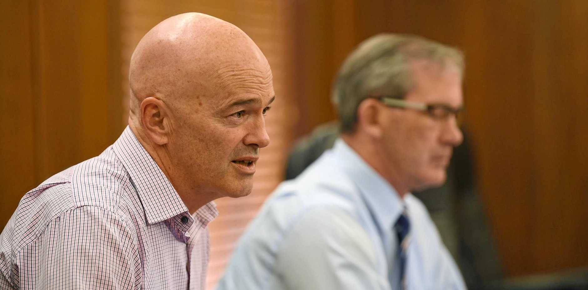 Gympie Council CEO Bernard Smith (pictured here with Mayor Mick Curran [right]) has been given an increased monetary limit to the size of council contracts he can enter into.