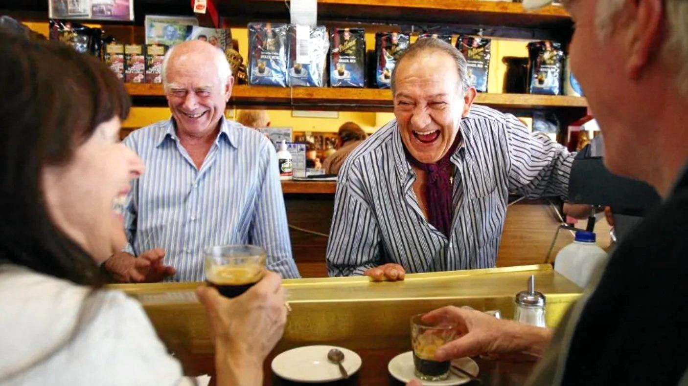 Sisto Malaspina (right) and his business partner Nino Pangrazio at their cafe Pellegrini's on Bourke St.