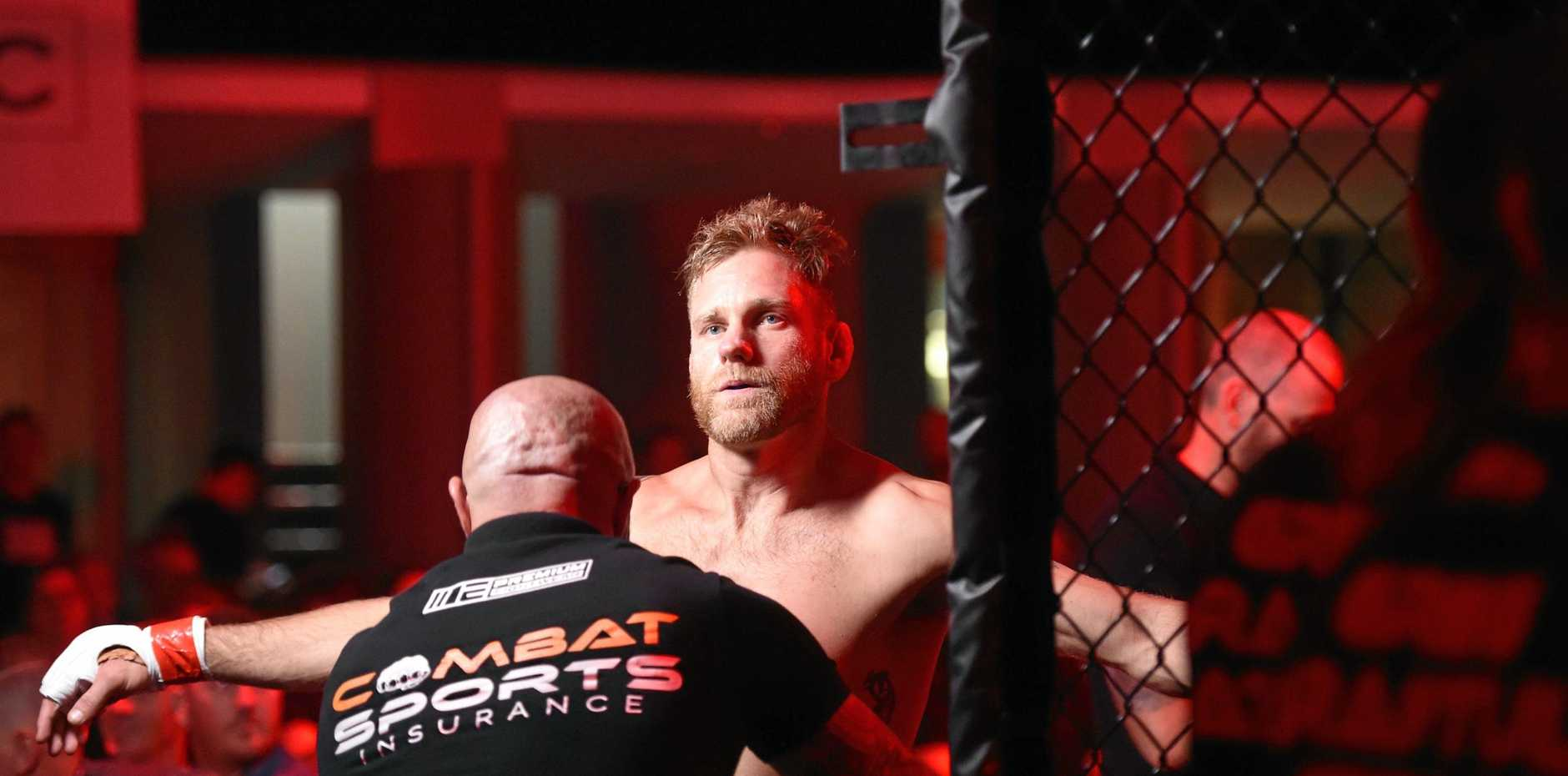 LAST DANCE: Greg Atzori enters the cage for his last bout at Eternal MMA 39 at Southport Sharks on Saturday, November 24.